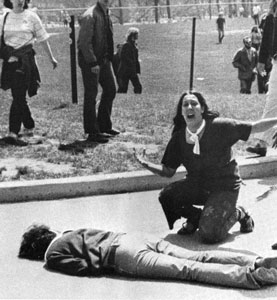 A student at Kent State University gunned down by U.S. government troops.