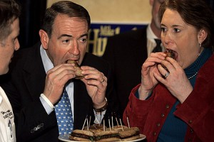 The former governor munching on a Huckaburger that he&#039;d try to keep you from eating