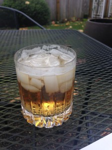 Bulleit Rye and soda